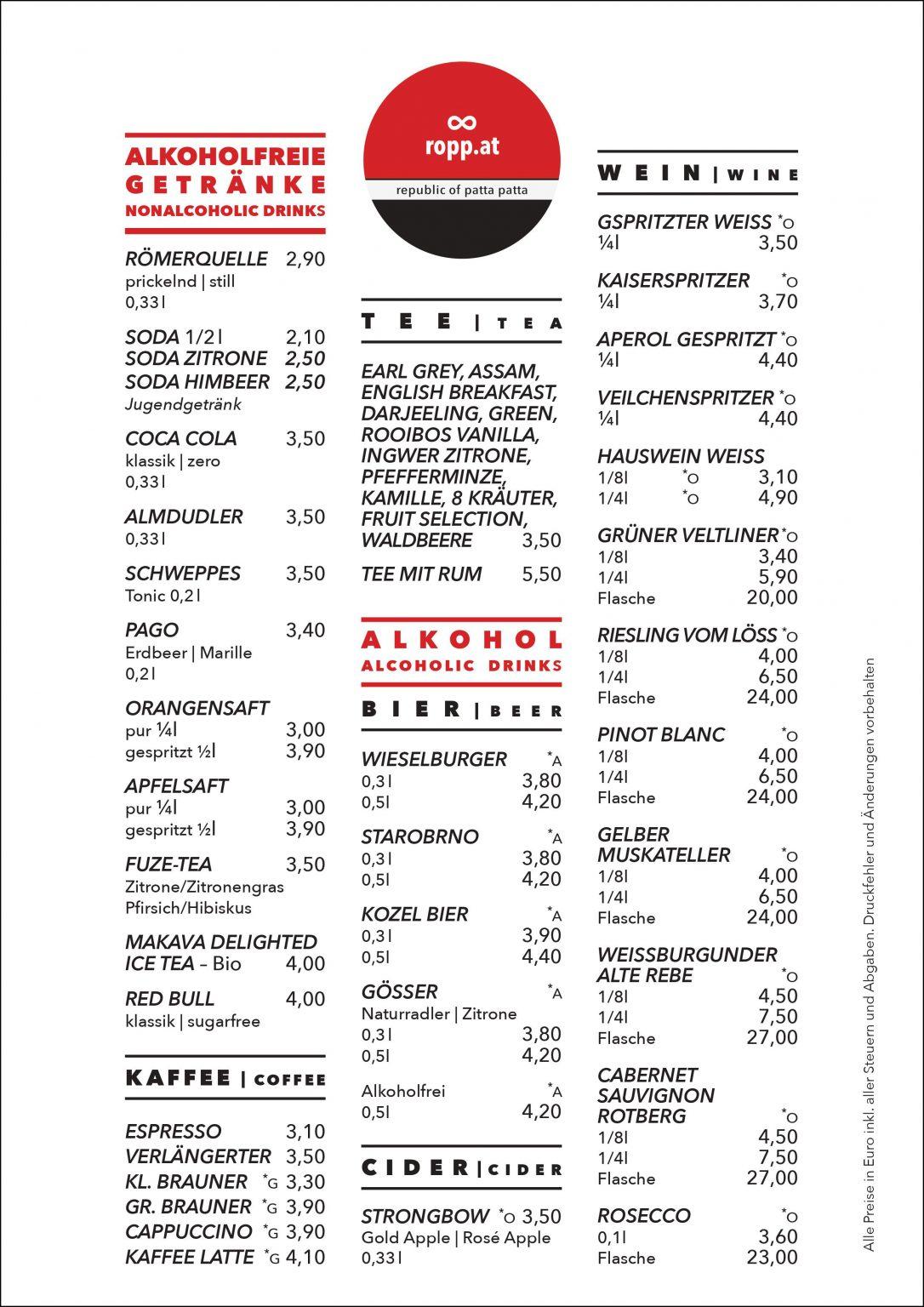 Speisekarte: Getränke | drinks