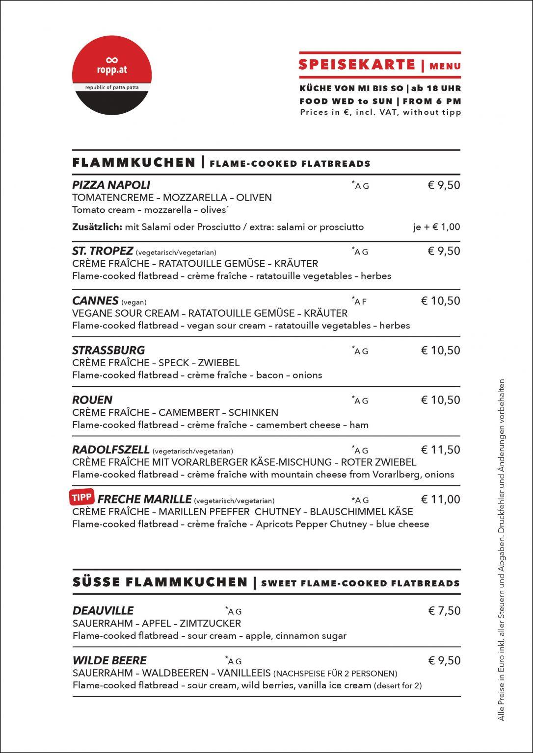Speisekarte: Flammkuchen | Flame-cooked flatbread